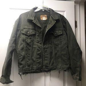Vintage distressed olive green denim gap jacket